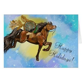 Cartes Noël de Dreamcatcher de cheval de baie