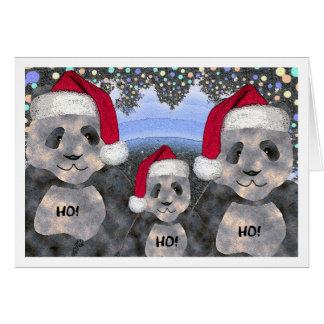 Cartes Noël de famille de panda
