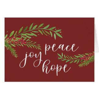 Cartes Noël de feuillage d'aquarelle d'espoir de joie de