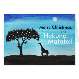 Cartes Noël de girafe de safari