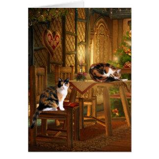 Cartes Noël de minou de calicot