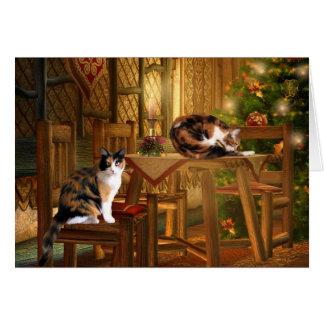 Cartes Noël de minous de calicot