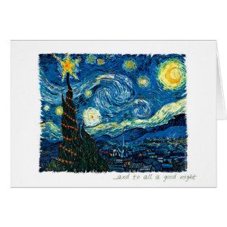 Cartes Noël de nuit étoilée