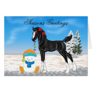 Cartes Noël de poulain et de bonhomme de neige de trait