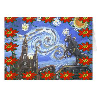 Cartes Noël de quartier français de nuit étoilée