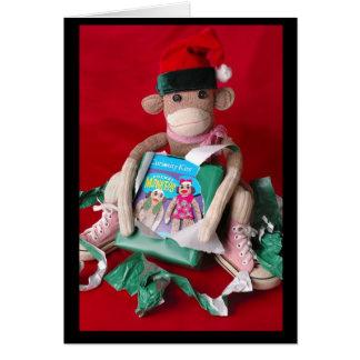 Cartes Noël de singe de chaussette
