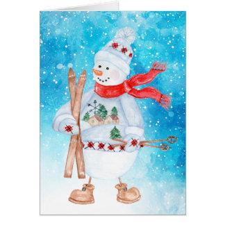 Cartes Noël de skieur de bonhomme de neige
