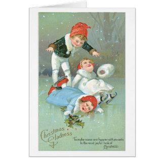 Cartes Noël démodé, patinage de glace