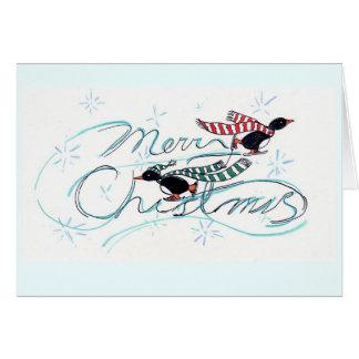 Cartes Noël des pingouins de patinage de glace
