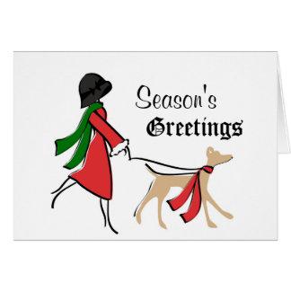 Cartes Noël élégant de marcheur de chien