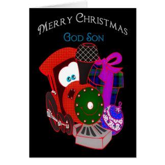 Cartes Noël - filleul - train et cadeaux