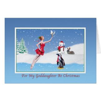 Cartes Noël, filleule, ballerine, hiver, neige