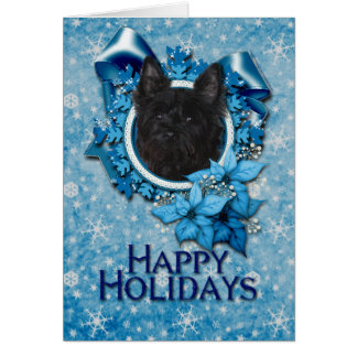 Cartes Noël - flocon de neige bleu - cairn Terrier -