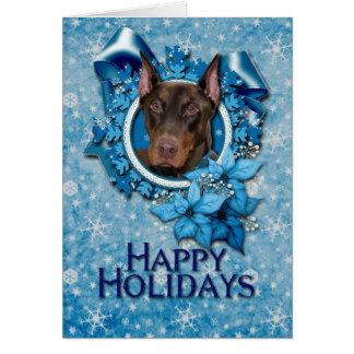 Cartes Noël - flocon de neige bleu - dobermann - rocheux