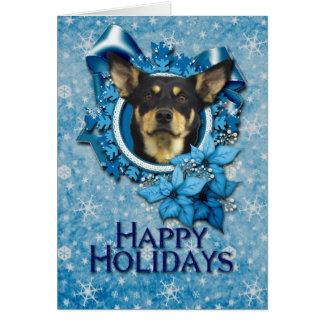 Cartes Noël - flocon de neige bleu - Kelpie australien