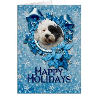 Cartes Noël - flocon de neige bleu - Terrier tibétain
