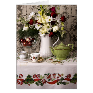 Cartes Noël floral de la vie heure du thé 2203 toujours