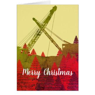 Cartes Noël fonctionnant d'art de grue d'ingénieur Joyeux