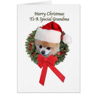 Cartes Noël, grand-maman, chien de Pomeranian