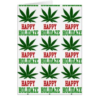 Cartes Noël Holidaze heureux de feuille de mauvaise herbe
