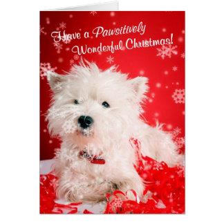 Cartes Noël merveilleux de Westie souhaite 2 -