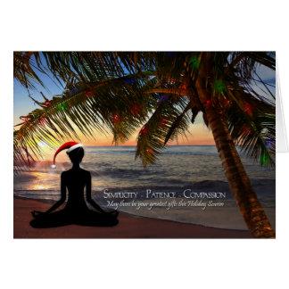 Cartes Noël orienté de yoga sur la plage