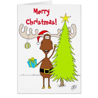 Cartes Noël : Orignaux (heureux)