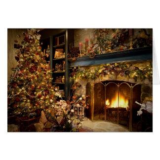 Cartes Noël par la cheminée