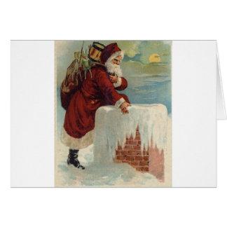 Cartes Noël - Père Noël descendant la cheminée