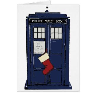 Cartes Noël public de cabine téléphonique de police