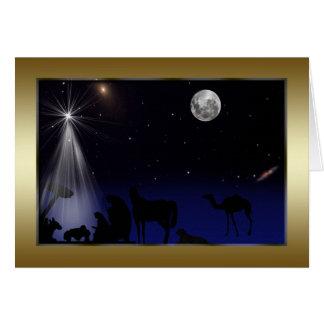 Cartes Noël, religieux, nativité, étoiles, lune