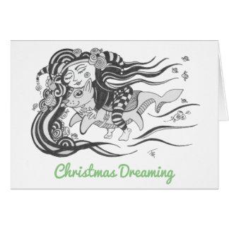 Cartes Noël rêvant la fille de cirque