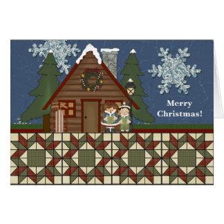 Cartes Noël rustique de cabine de pays de loge la nuit