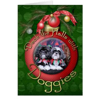 Cartes Noël - Shih Tzu - ruches et Riley