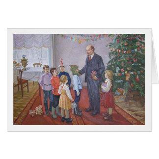 Cartes Noël socialiste vintage de réalisme avec Lénine