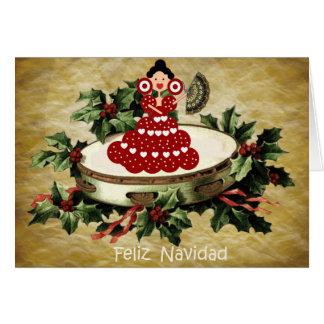 Cartes Noël style espagnol, éventail et gitanilla