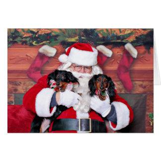 Cartes Noël - teckel - Mickey et Madilyn