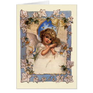 Cartes Noël vintage, ange victorien avec de l'or Bells