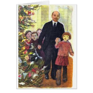 Cartes Noël vintage d'aquarelle avec Lénine