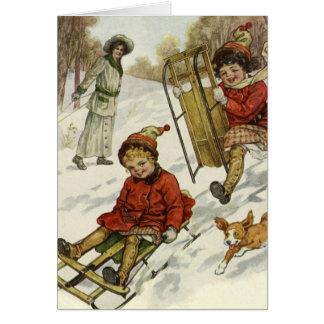 Cartes Noël vintage, enfants victoriens Sledding le chien
