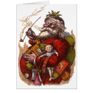 Cartes Noël vintage, jouets victoriens de tuyau du père