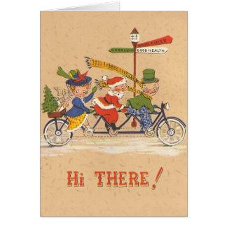 Cartes Noël vintage, le père noël montant une bicyclette