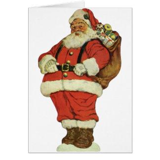 Cartes Noël vintage, le père noël victorien avec des