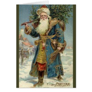 Cartes Noël vintage, le père noël victorien avec l'arbre