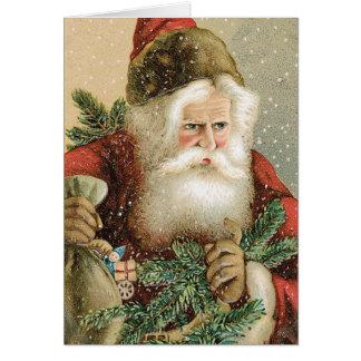 Cartes Noël vintage, le père noël victorien avec le pin