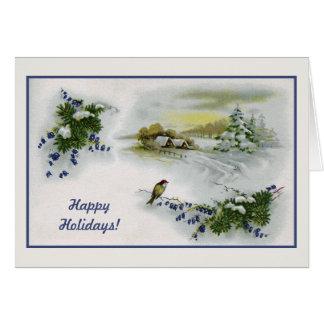 Cartes Noël vintage loge l'oiseau