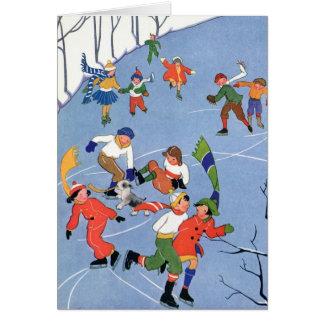 Cartes Noël vintage, patinage de glace d'enfants sur un