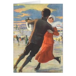 Cartes Noël vintage, patinage de glace romantique de