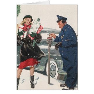 Cartes Noël vintage, policier de achat de présents