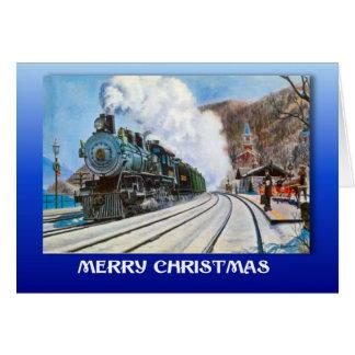 Cartes Noël vintage, train dans une station neigeuse
